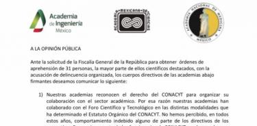 Academias de la Lengua, Medicina, Ingeniería y Ciencias rechazan ataques a comunidad científica