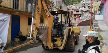 Continúan trabajos de estabilización en zona del Chiquihuite
